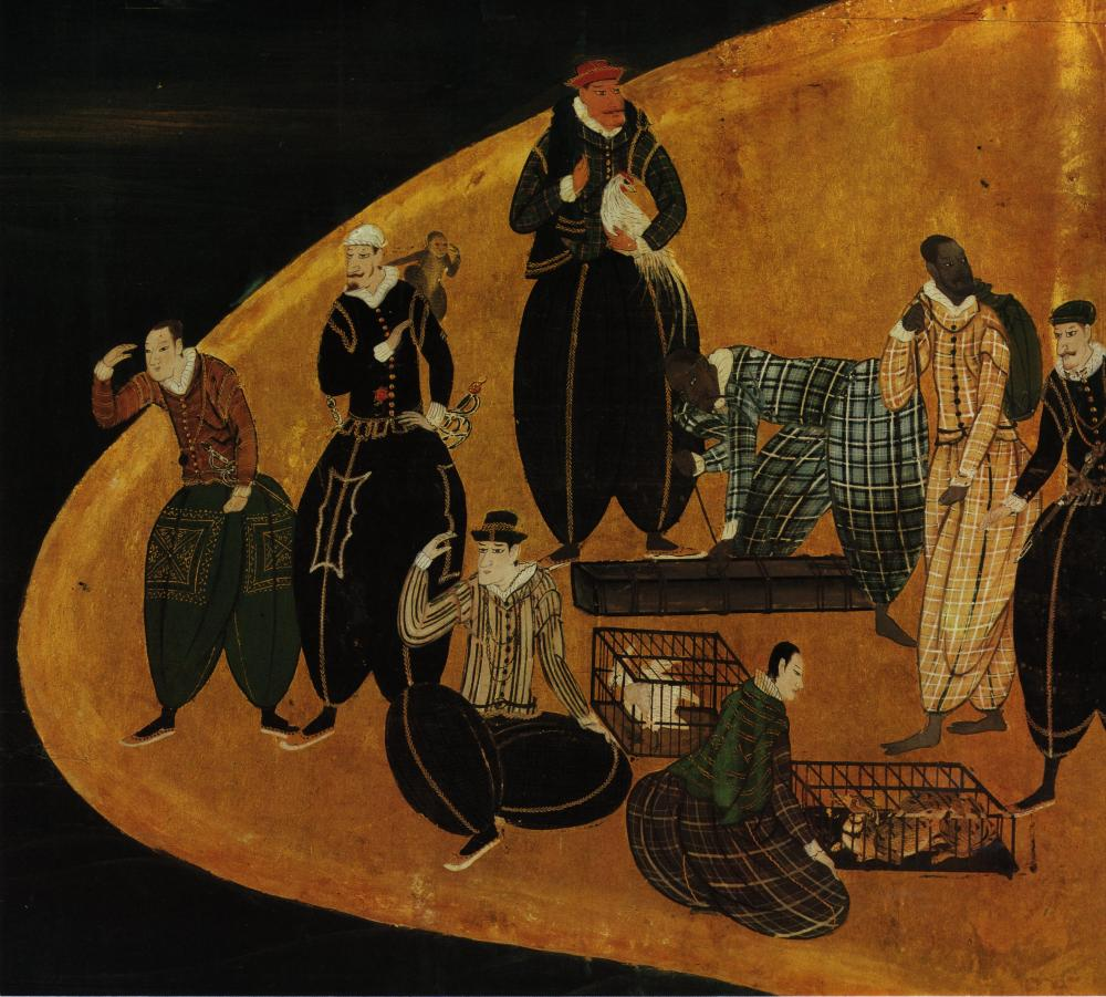 Portuguese trading animals in Japan; detail of Nanban panel (1570–1616)